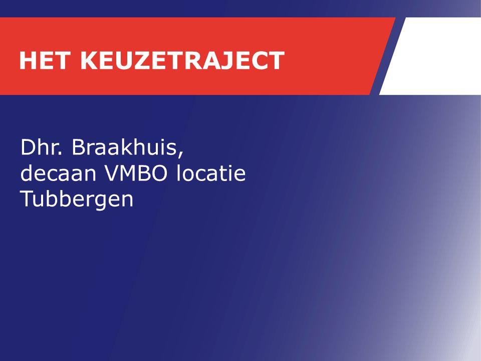 HET KEUZETRAJECT Dhr. Braakhuis, decaan VMBO locatie Tubbergen