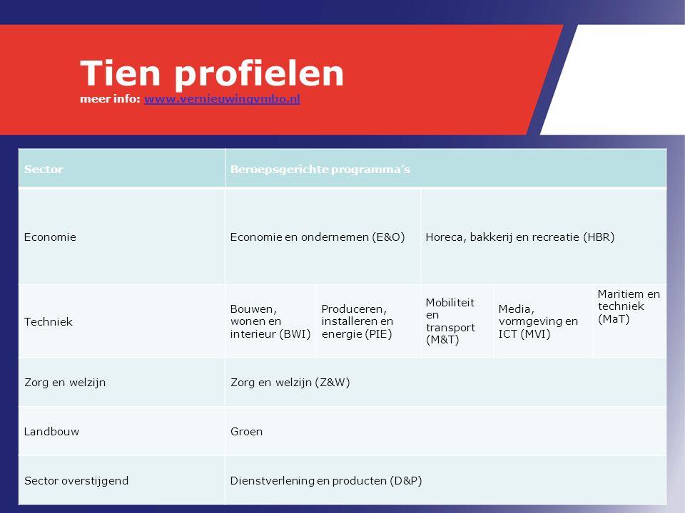 Tien profielen meer info: www.vernieuwingvmbo.nlwww.vernieuwingvmbo.nl SectorBeroepsgerichte programma's EconomieEconomie en ondernemen (E&O)Horeca, bakkerij en recreatie (HBR) Techniek Bouwen, wonen en interieur (BWI) Produceren, installeren en energie (PIE) Mobiliteit en transport (M&T) Media, vormgeving en ICT (MVI) Maritiem en techniek (MaT) Zorg en welzijnZorg en welzijn (Z&W) LandbouwGroen Sector overstijgendDienstverlening en producten (D&P)