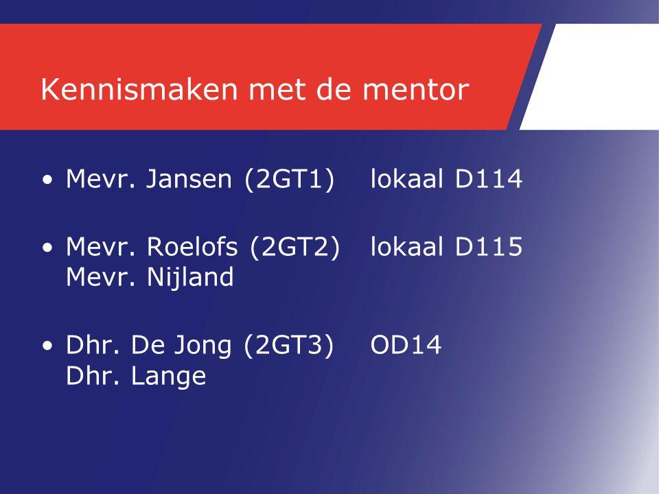 Kennismaken met de mentor Mevr.Jansen (2GT1) lokaal D114 Mevr.