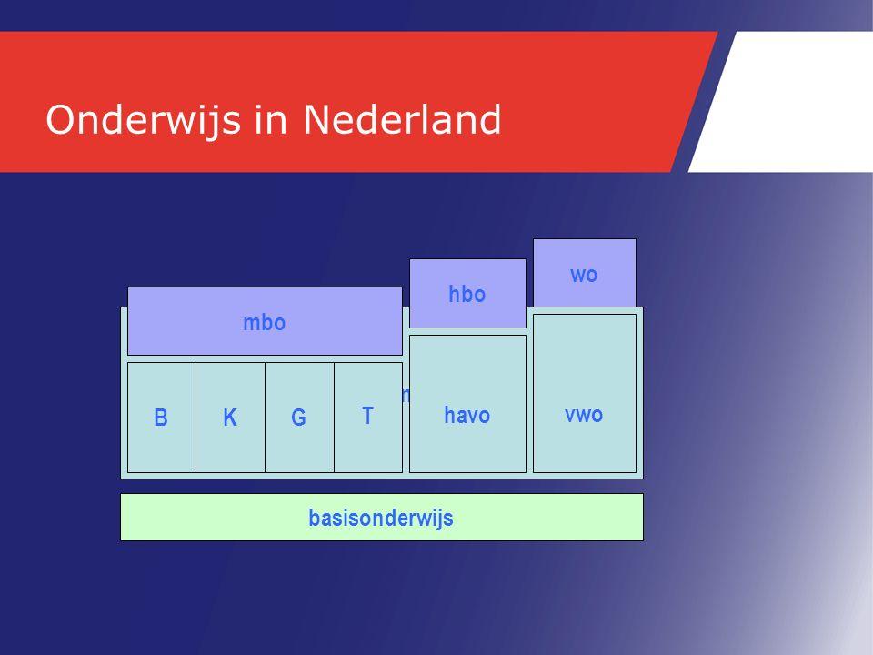 Onderwijs in Nederland basisonderwijs voortgezet onderwijs vmbo havo vwo mbo hbo wo basis kader gemengdtheoretisch BKG T