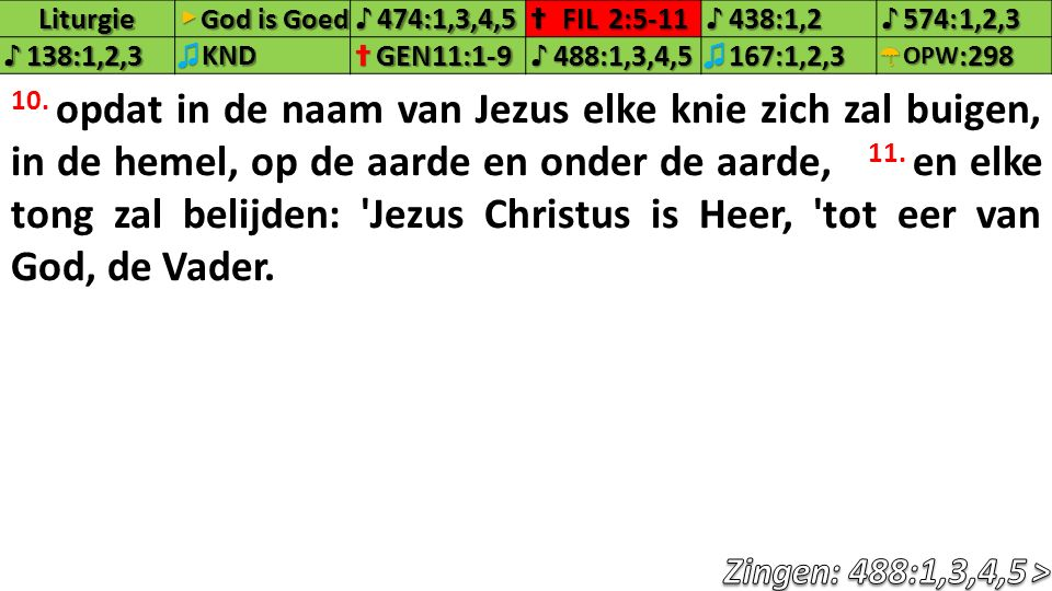 Liturgie▶ God is Goed ♪474:1,3,4,5✝FIL2:5-11♪438:1,2♪574:1,2,3♪138:1,2,3♫KND✝GEN11:1-9♪488:1,3,4,5♫167:1,2,3☂OPW:298 10. opdat in de naam van Jezus el