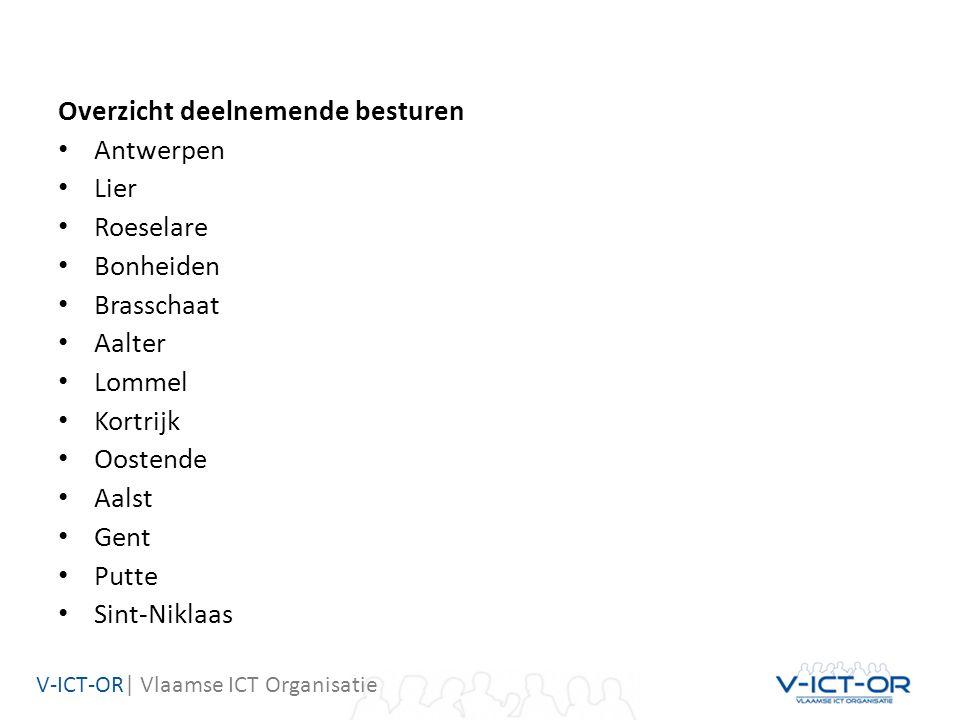 V-ICT-OR| Vlaamse ICT Organisatie Overzicht deelnemende besturen Antwerpen Lier Roeselare Bonheiden Brasschaat Aalter Lommel Kortrijk Oostende Aalst Gent Putte Sint-Niklaas