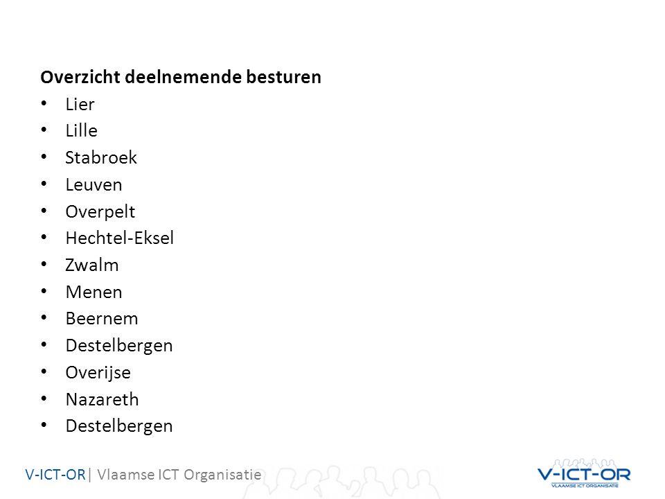 V-ICT-OR| Vlaamse ICT Organisatie Overzicht deelnemende besturen Lier Lille Stabroek Leuven Overpelt Hechtel-Eksel Zwalm Menen Beernem Destelbergen Overijse Nazareth Destelbergen