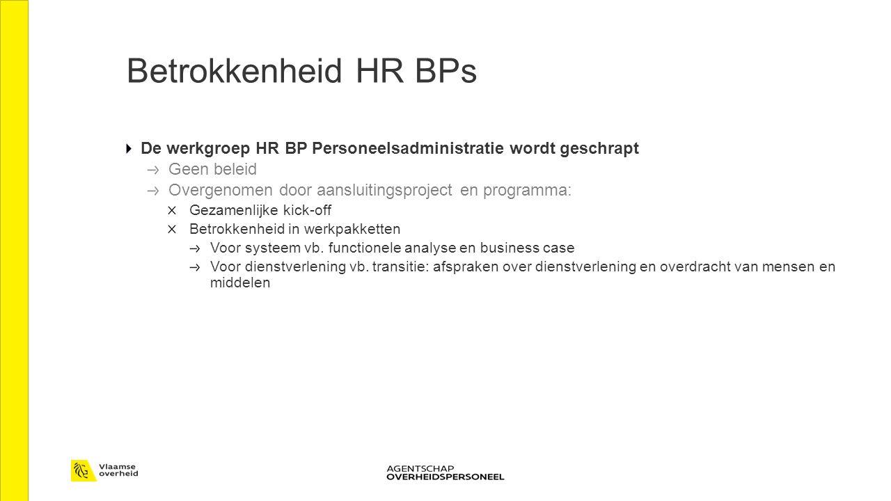 De werkgroep HR BP Personeelsadministratie wordt geschrapt Geen beleid Overgenomen door aansluitingsproject en programma: Gezamenlijke kick-off Betrokkenheid in werkpakketten Voor systeem vb.