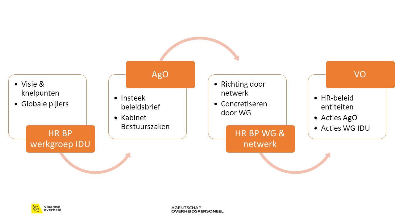 Visie & knelpunten Globale pijlers HR BP werkgroep IDU Insteek beleidsbrief Kabinet Bestuurszaken AgO Richting door netwerk Concretiseren door WG HR BP WG & netwerk HR-beleid entiteiten Acties AgO Acties WG IDU VO