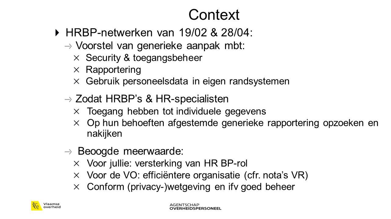 Context HRBP-netwerken van 19/02 & 28/04: Voorstel van generieke aanpak mbt: Security & toegangsbeheer Rapportering Gebruik personeelsdata in eigen ra