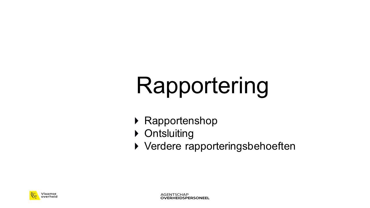 Rapportering Rapportenshop Ontsluiting Verdere rapporteringsbehoeften