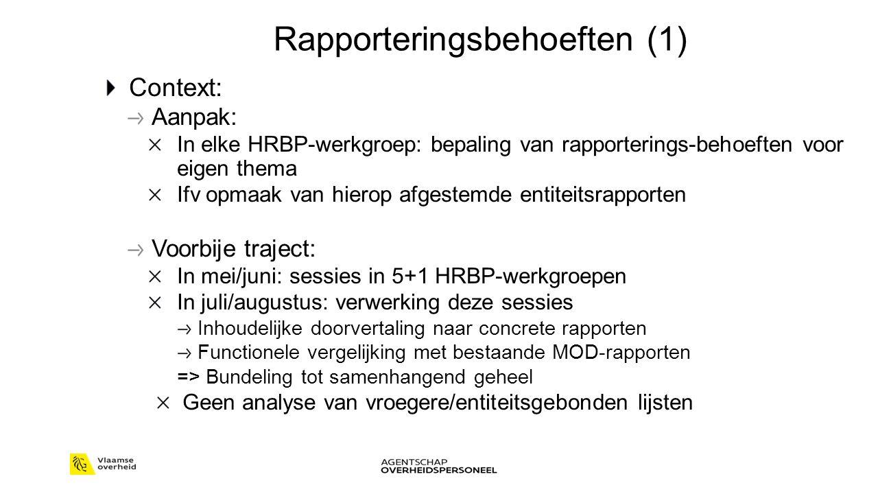 Rapporteringsbehoeften (1) Context: Aanpak: In elke HRBP-werkgroep: bepaling van rapporterings-behoeften voor eigen thema Ifv opmaak van hierop afgestemde entiteitsrapporten Voorbije traject: In mei/juni: sessies in 5+1 HRBP-werkgroepen In juli/augustus: verwerking deze sessies Inhoudelijke doorvertaling naar concrete rapporten Functionele vergelijking met bestaande MOD-rapporten => Bundeling tot samenhangend geheel Geen analyse van vroegere/entiteitsgebonden lijsten