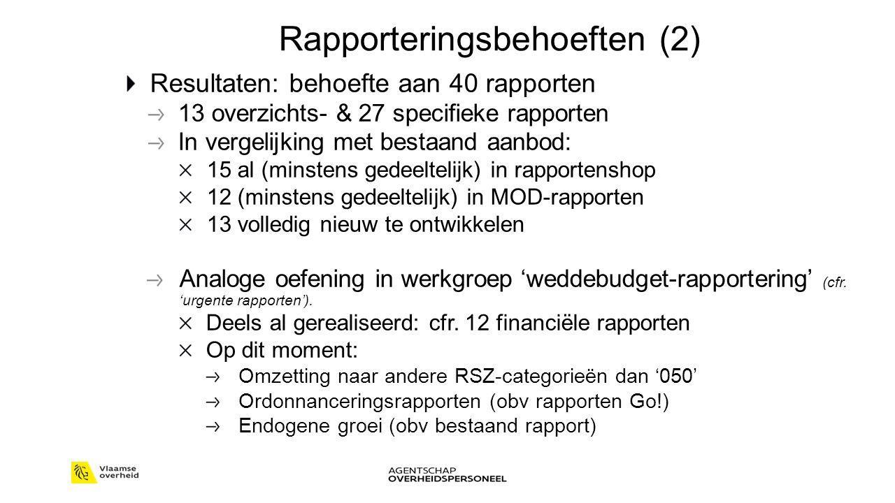 Rapporteringsbehoeften (2) Resultaten: behoefte aan 40 rapporten 13 overzichts- & 27 specifieke rapporten In vergelijking met bestaand aanbod: 15 al (minstens gedeeltelijk) in rapportenshop 12 (minstens gedeeltelijk) in MOD-rapporten 13 volledig nieuw te ontwikkelen Analoge oefening in werkgroep 'weddebudget-rapportering' (cfr.