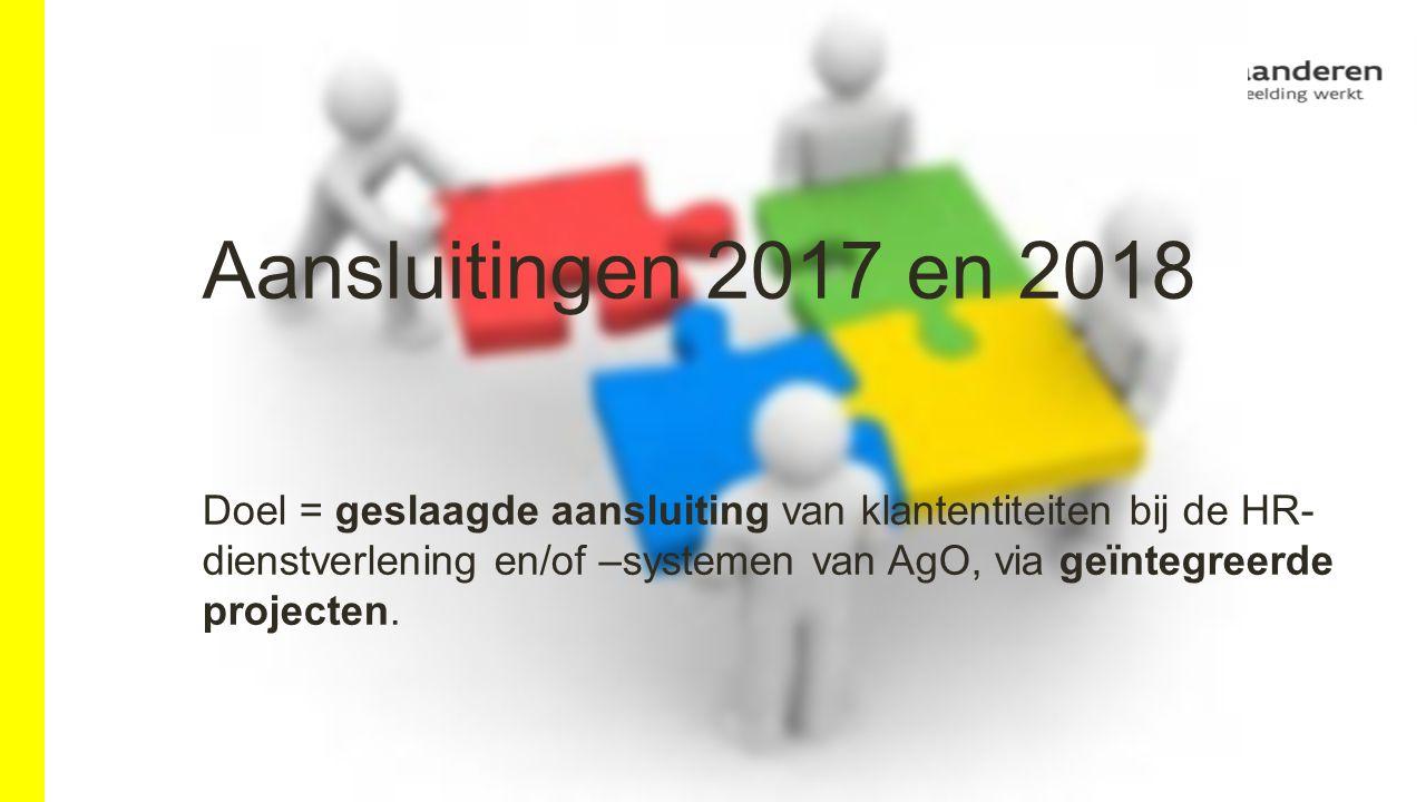 Aansluitingen 2017 en 2018 Doel = geslaagde aansluiting van klantentiteiten bij de HR- dienstverlening en/of –systemen van AgO, via geïntegreerde projecten.