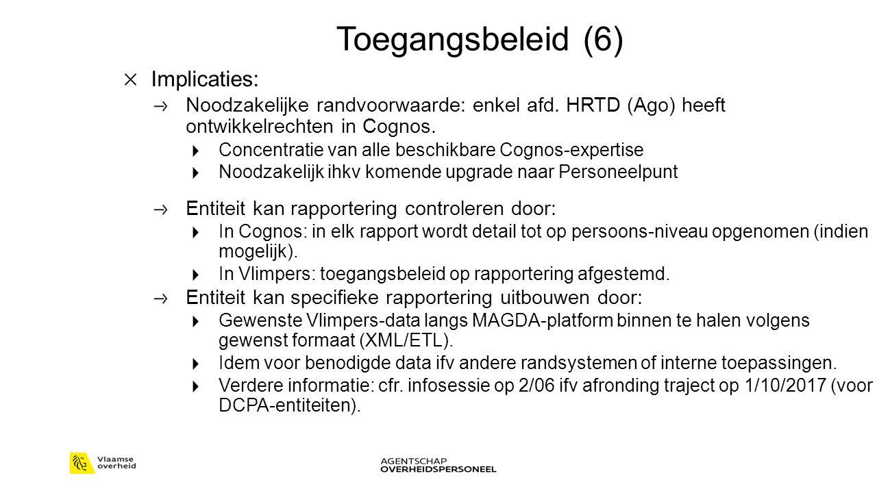 Toegangsbeleid (6) Implicaties: Noodzakelijke randvoorwaarde: enkel afd.