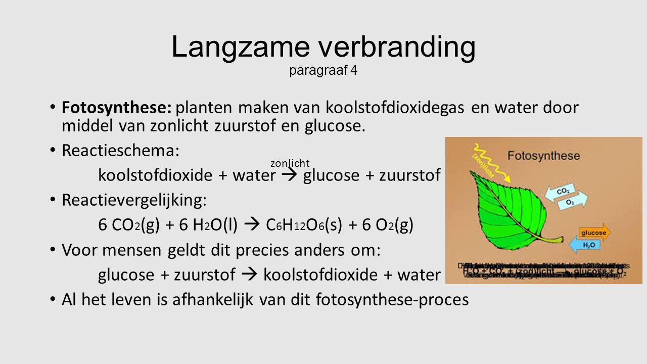 Langzame verbranding paragraaf 4 Fotosynthese: planten maken van koolstofdioxidegas en water door middel van zonlicht zuurstof en glucose.