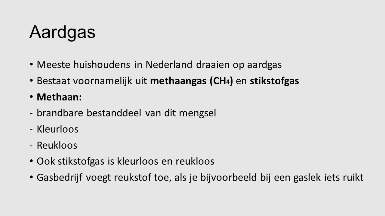 Aardgas Reactieschema: methaangas + zuurstofgas  koolstofdioxide + waterdamp Reactievergelijking: CH 4 (g) + 2 O 2 (g)  CO 2 (g) + 2 H 2 O(g)