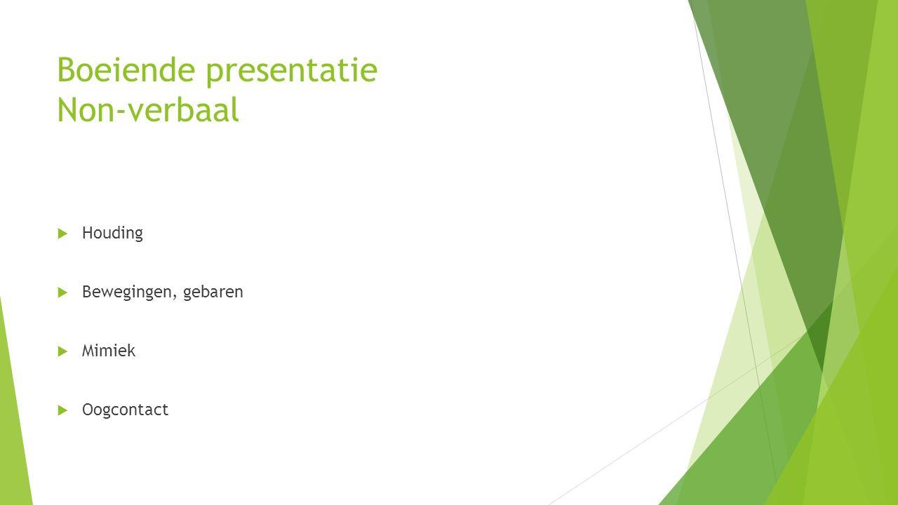 Boeiende presentatie Non-verbaal  Houding  Bewegingen, gebaren  Mimiek  Oogcontact