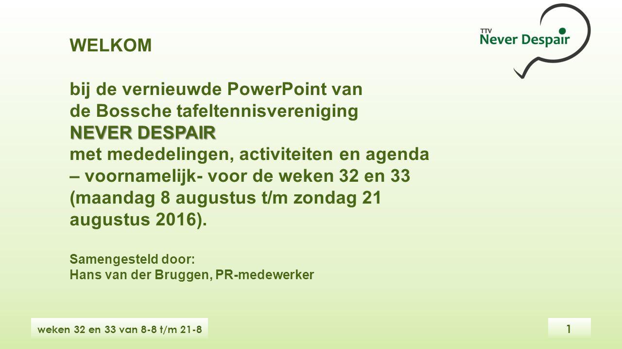WELKOM bij de vernieuwde PowerPoint van de Bossche tafeltennisvereniging NEVER DESPAIR met mededelingen, activiteiten en agenda – voornamelijk- voor de weken 32 en 33 (maandag 8 augustus t/m zondag 21 augustus 2016).
