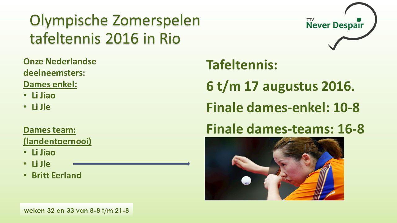 Olympische Zomerspelen tafeltennis 2016 in Rio Onze Nederlandse deelneemsters: Dames enkel: Li Jiao Li Jie Dames team: (landentoernooi) Li Jiao Li Jie Britt Eerland Tafeltennis: 6 t/m 17 augustus 2016.