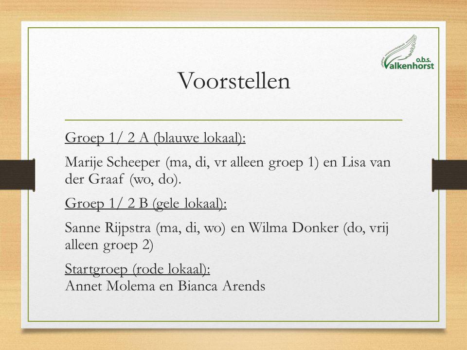 Voorstellen Groep 1/ 2 A (blauwe lokaal): Marije Scheeper (ma, di, vr alleen groep 1) en Lisa van der Graaf (wo, do). Groep 1/ 2 B (gele lokaal): Sann