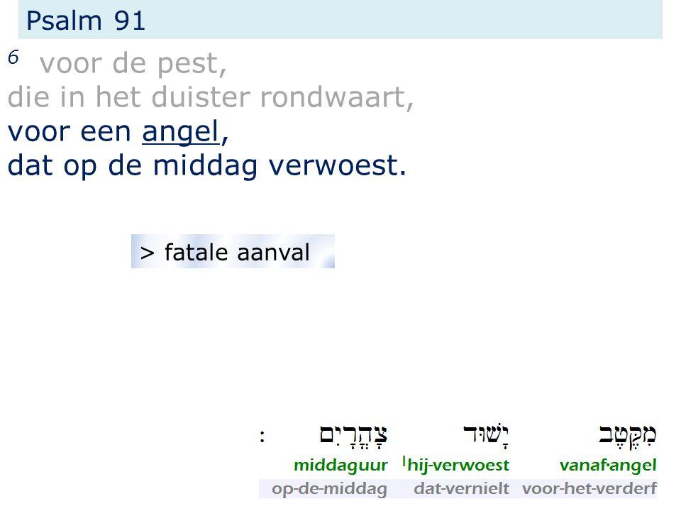 Psalm 91 6 voor de pest, die in het duister rondwaart, voor een angel, dat op de middag verwoest. > fatale aanval