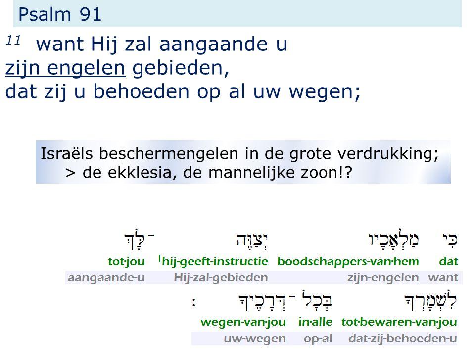 Psalm 91 11 want Hij zal aangaande u zijn engelen gebieden, dat zij u behoeden op al uw wegen; Israëls beschermengelen in de grote verdrukking; > de ekklesia, de mannelijke zoon!?