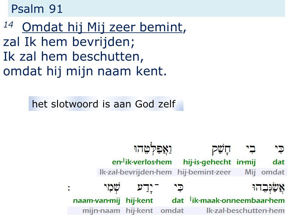 Psalm 91 14 Omdat hij Mij zeer bemint, zal Ik hem bevrijden; Ik zal hem beschutten, omdat hij mijn naam kent.