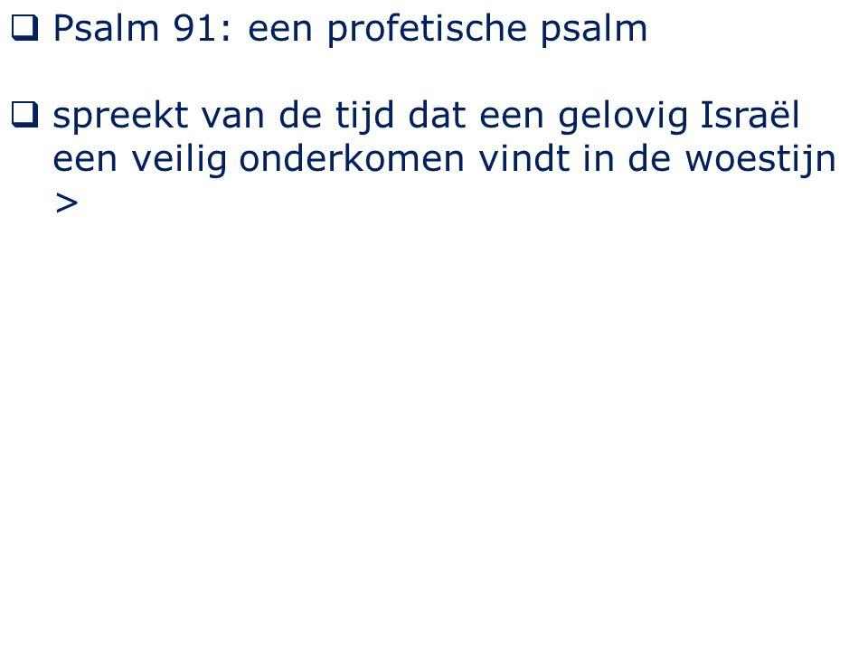  Psalm 91: een profetische psalm  spreekt van de tijd dat een gelovig Israël een veilig onderkomen vindt in de woestijn >