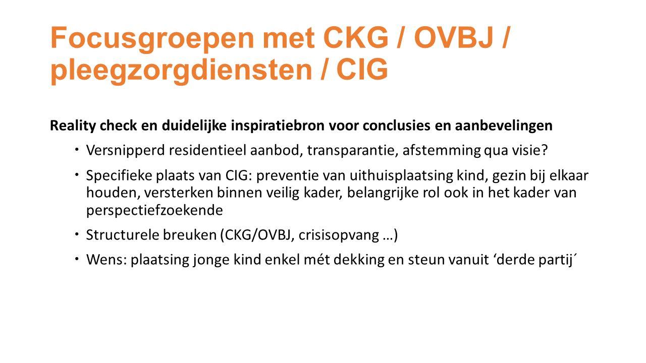 Focusgroepen met CKG / OVBJ / pleegzorgdiensten / CIG Reality check en duidelijke inspiratiebron voor conclusies en aanbevelingen  Versnipperd residentieel aanbod, transparantie, afstemming qua visie.