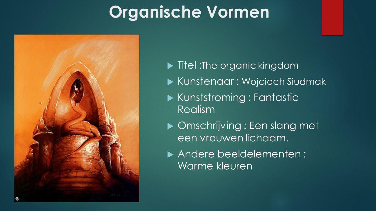 Organische Vormen  Titel : The organic kingdom  Kunstenaar : Wojciech Siudmak  Kunststroming : Fantastic Realism  Omschrijving : Een slang met een vrouwen lichaam.