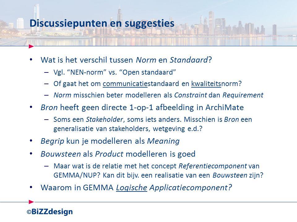 Discussiepunten en suggesties Wat is het verschil tussen Norm en Standaard.