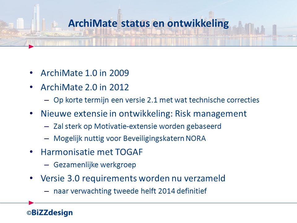 ArchiMate status en ontwikkeling ArchiMate 1.0 in 2009 ArchiMate 2.0 in 2012 – Op korte termijn een versie 2.1 met wat technische correcties Nieuwe extensie in ontwikkeling: Risk management – Zal sterk op Motivatie-extensie worden gebaseerd – Mogelijk nuttig voor Beveiligingskatern NORA Harmonisatie met TOGAF – Gezamenlijke werkgroep Versie 3.0 requirements worden nu verzameld – naar verwachting tweede helft 2014 definitief