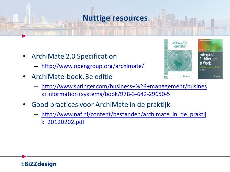 Nuttige resources ArchiMate 2.0 Specification – http://www.opengroup.org/archimate/ http://www.opengroup.org/archimate/ ArchiMate-boek, 3e editie – http://www.springer.com/business+%26+management/busines s+information+systems/book/978-3-642-29650-5 http://www.springer.com/business+%26+management/busines s+information+systems/book/978-3-642-29650-5 Good practices voor ArchiMate in de praktijk – http://www.naf.nl/content/bestanden/archimate_in_de_praktij k_20120202.pdf http://www.naf.nl/content/bestanden/archimate_in_de_praktij k_20120202.pdf