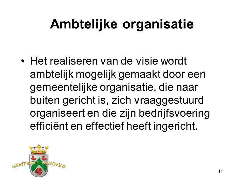 10 Ambtelijke organisatie Het realiseren van de visie wordt ambtelijk mogelijk gemaakt door een gemeentelijke organisatie, die naar buiten gericht is,