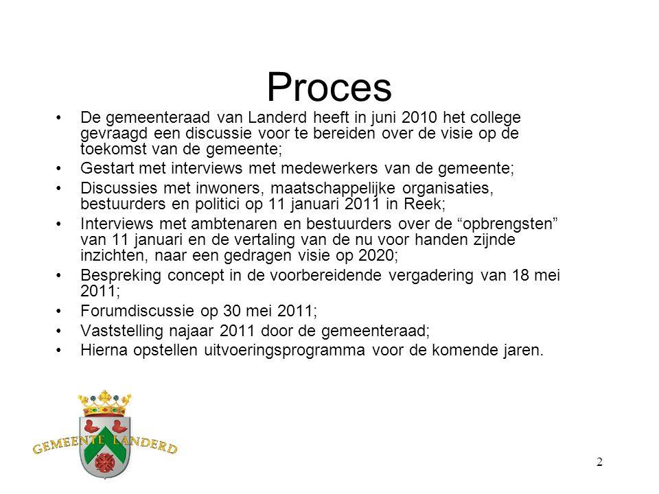 2 Proces De gemeenteraad van Landerd heeft in juni 2010 het college gevraagd een discussie voor te bereiden over de visie op de toekomst van de gemeen