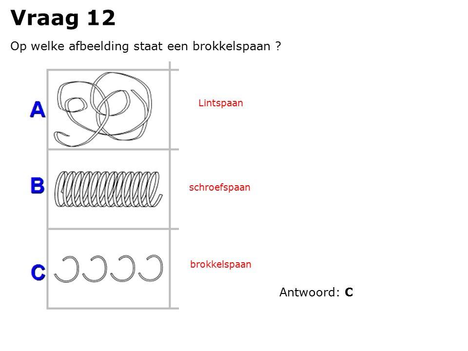 Vraag 12 Op welke afbeelding staat een brokkelspaan ? Lintspaan schroefspaan brokkelspaan Antwoord: C