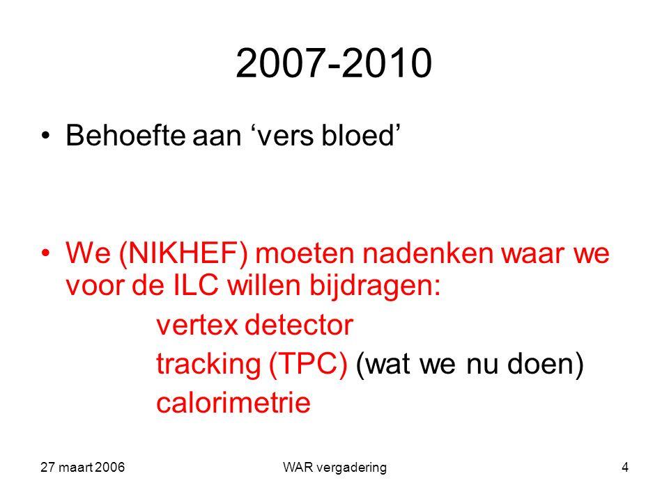 27 maart 2006WAR vergadering5 Harde contracten EUDET (SiTPC) 1 st TIMEPIX operationeel 12/2006 lab/bundel tests 1-3/2007 ontwikkeling endplate 4-12/2007 ('endplate' beschikbaar 12/2007) SiTPC infrastructuur gereed 1/2009 Meer buiten EUDET: TPC Large Prototype (wereldwijde collaboratie)