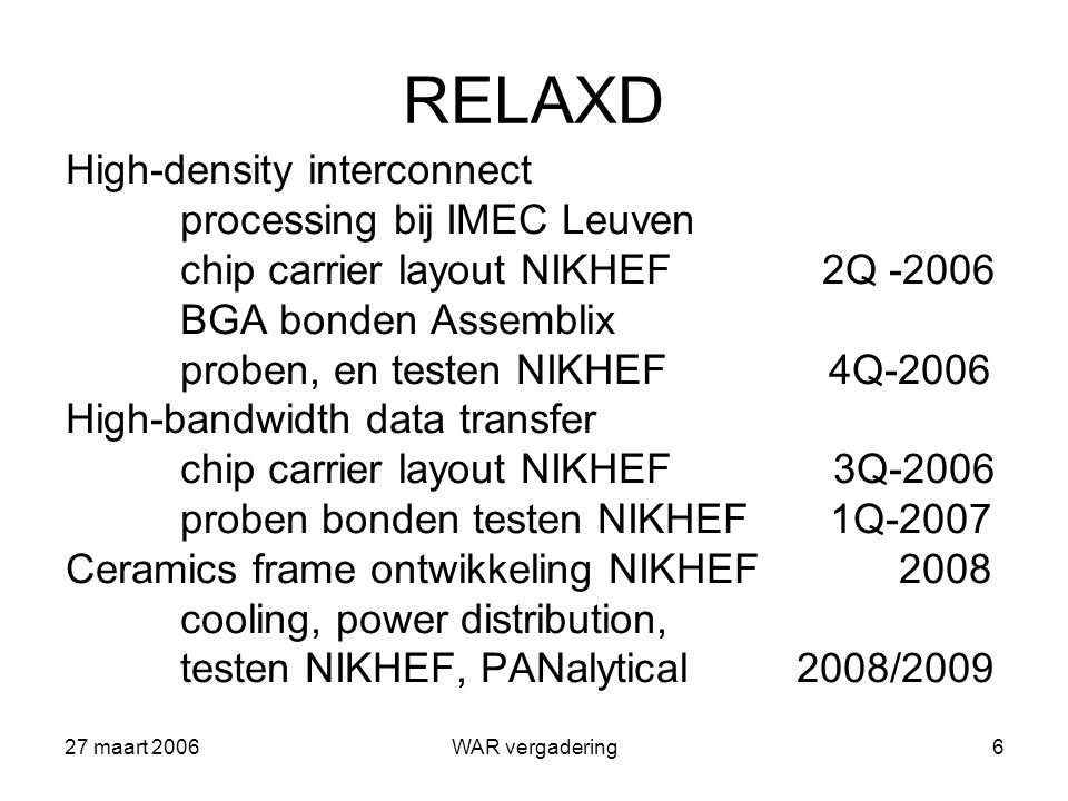 27 maart 2006WAR vergadering7 Verder…(concreet) Gossip (LHC upgrade) RASCLIC (RASNIK toepassing en verdere ontwikkeling voor LC (CLIC) ++++