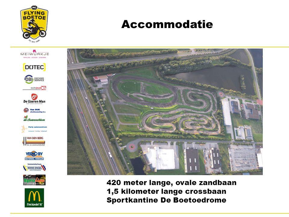 Accommodatie 420 meter lange, ovale zandbaan 1,5 kilometer lange crossbaan Sportkantine De Boetoedrome