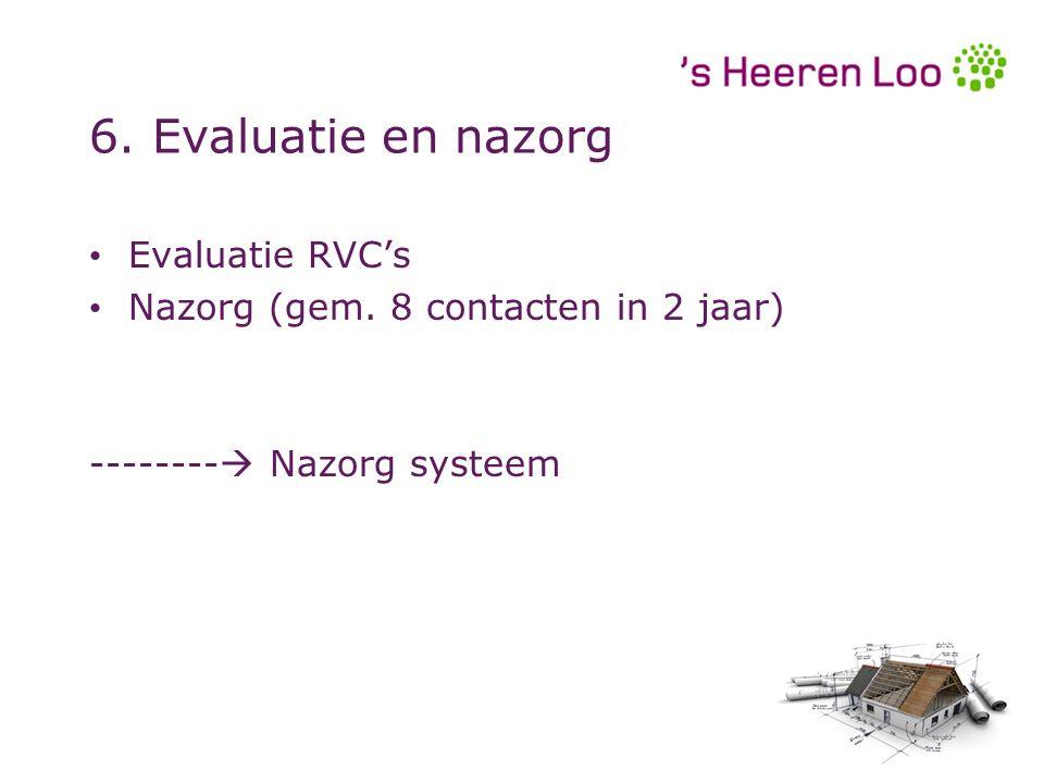 6. Evaluatie en nazorg Evaluatie RVC's Nazorg (gem. 8 contacten in 2 jaar) --------  Nazorg systeem Evaluatie RVC's Nazorg (gem. 8 contacten in 2 jaa