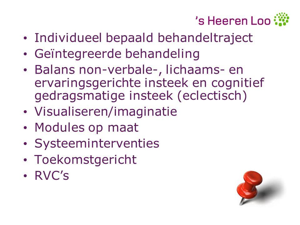Individueel bepaald behandeltraject Geïntegreerde behandeling Balans non-verbale-, lichaams- en ervaringsgerichte insteek en cognitief gedragsmatige i