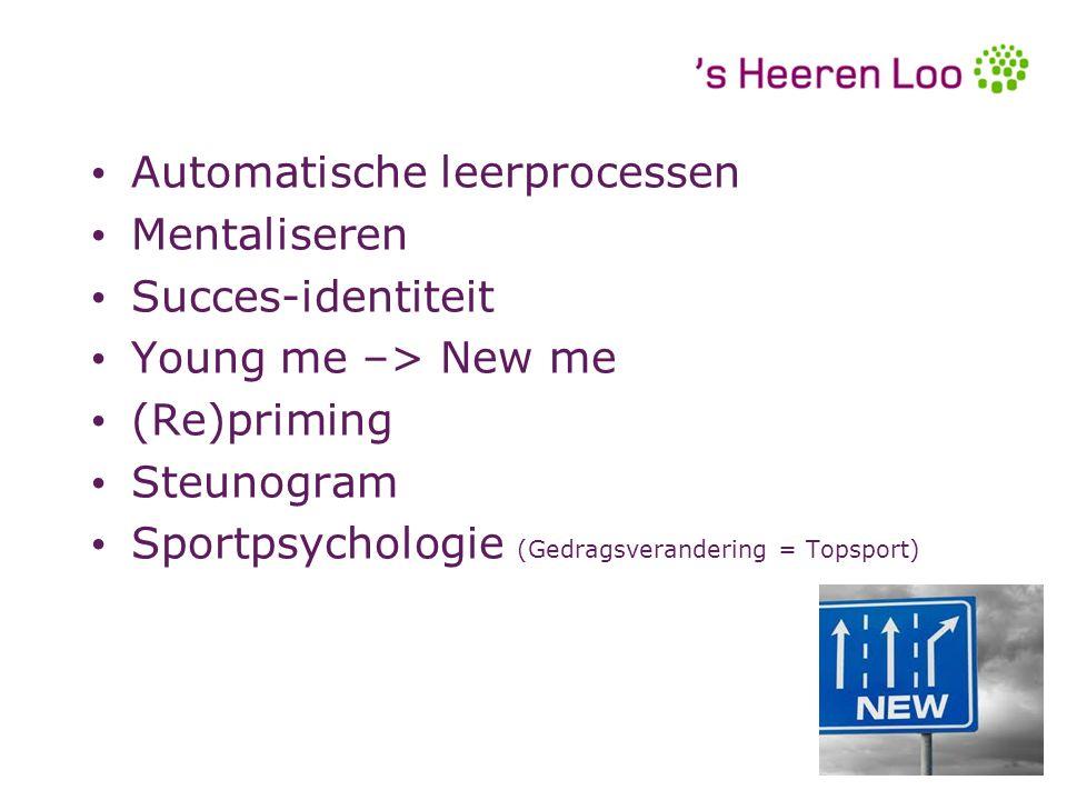Automatische leerprocessen Mentaliseren Succes-identiteit Young me –> New me (Re)priming Steunogram Sportpsychologie (Gedragsverandering = Topsport) A