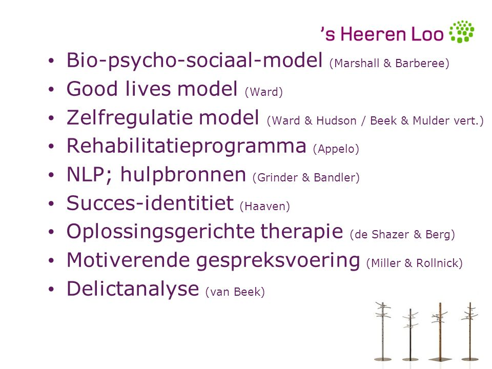 Bio-psycho-sociaal-model (Marshall & Barberee) Good lives model (Ward) Zelfregulatie model (Ward & Hudson / Beek & Mulder vert.) Rehabilitatieprogramma (Appelo) NLP; hulpbronnen (Grinder & Bandler) Succes-identitiet (Haaven) Oplossingsgerichte therapie (de Shazer & Berg) Motiverende gespreksvoering (Miller & Rollnick) Delictanalyse (van Beek) Bio-psycho-sociaal-model (Marshall & Barberee) Good lives model (Ward) Zelfregulatie model (Ward & Hudson / Beek & Mulder vert.) Rehabilitatieprogramma (Appelo) NLP; hulpbronnen (Grinder & Bandler) Succes-identitiet (Haaven) Oplossingsgerichte therapie (de Shazer & Berg) Motiverende gespreksvoering (Miller & Rollnick) Delictanalyse (van Beek)