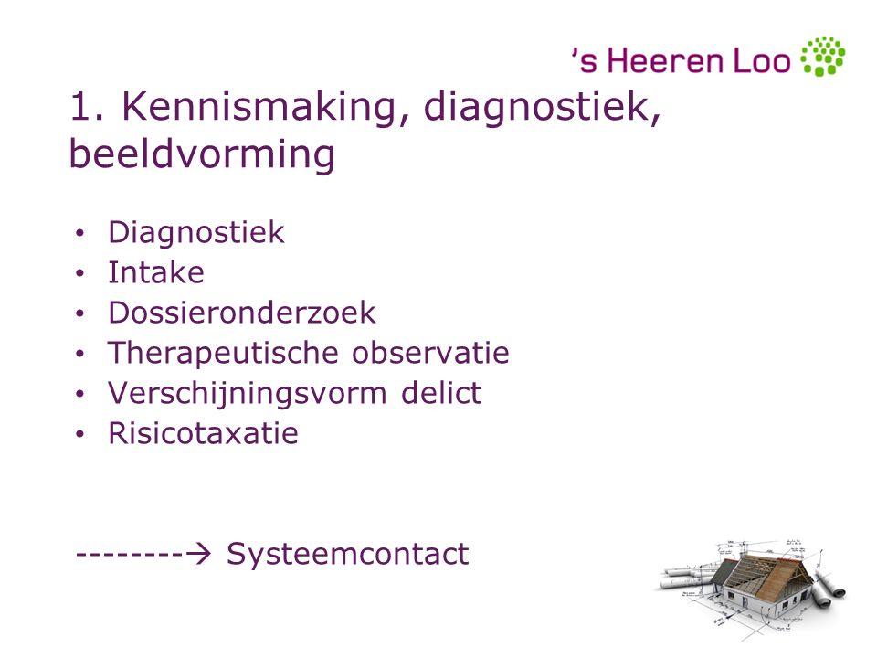 1. Kennismaking, diagnostiek, beeldvorming Diagnostiek Intake Dossieronderzoek Therapeutische observatie Verschijningsvorm delict Risicotaxatie ------