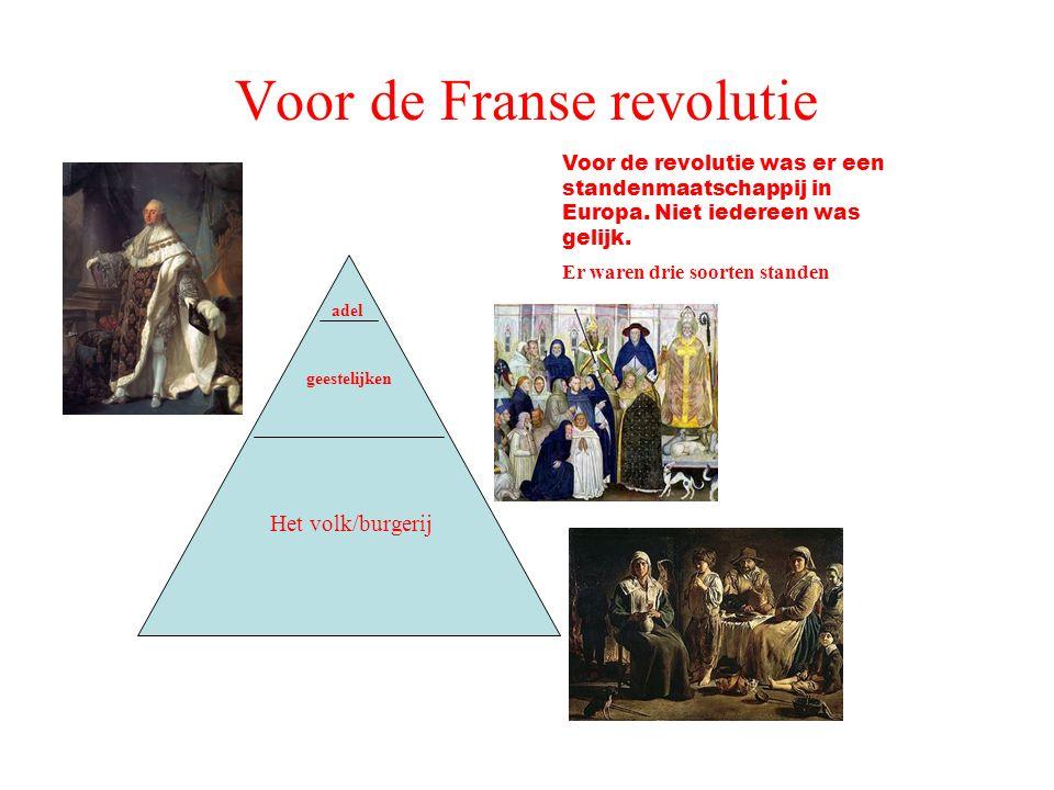 Voor de Franse revolutie Voor de revolutie was er een standenmaatschappij in Europa. Niet iedereen was gelijk. Er waren drie soorten standen Het volk/