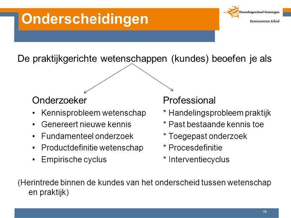 Onderscheidingen De praktijkgerichte wetenschappen (kundes) beoefen je als OnderzoekerProfessional Kennisprobleem wetenschap* Handelingsprobleem prakt