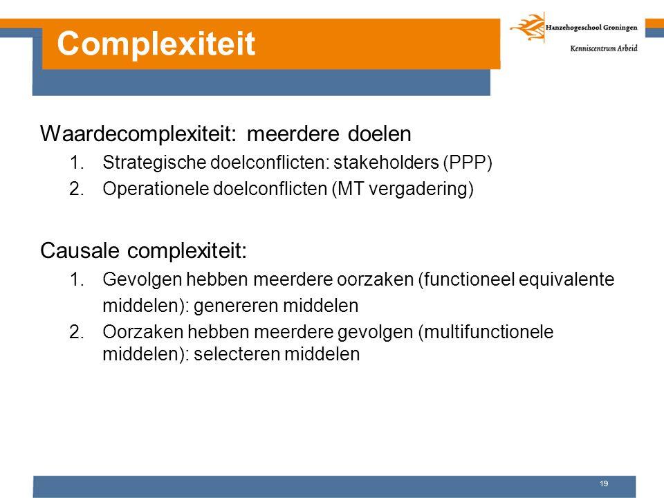 Complexiteit Waardecomplexiteit: meerdere doelen 1.Strategische doelconflicten: stakeholders (PPP) 2.Operationele doelconflicten (MT vergadering) Caus