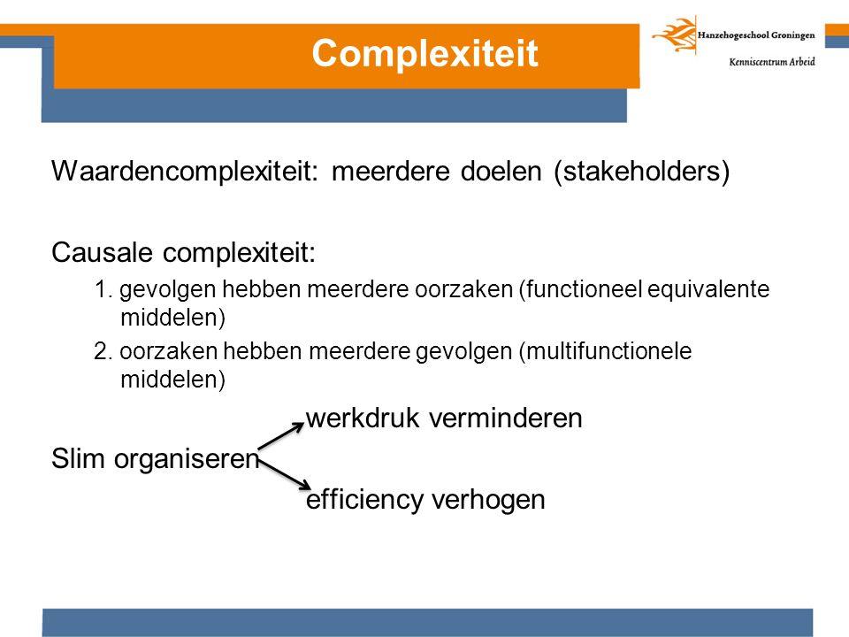 Complexiteit Waardencomplexiteit: meerdere doelen (stakeholders) Causale complexiteit: 1. gevolgen hebben meerdere oorzaken (functioneel equivalente m