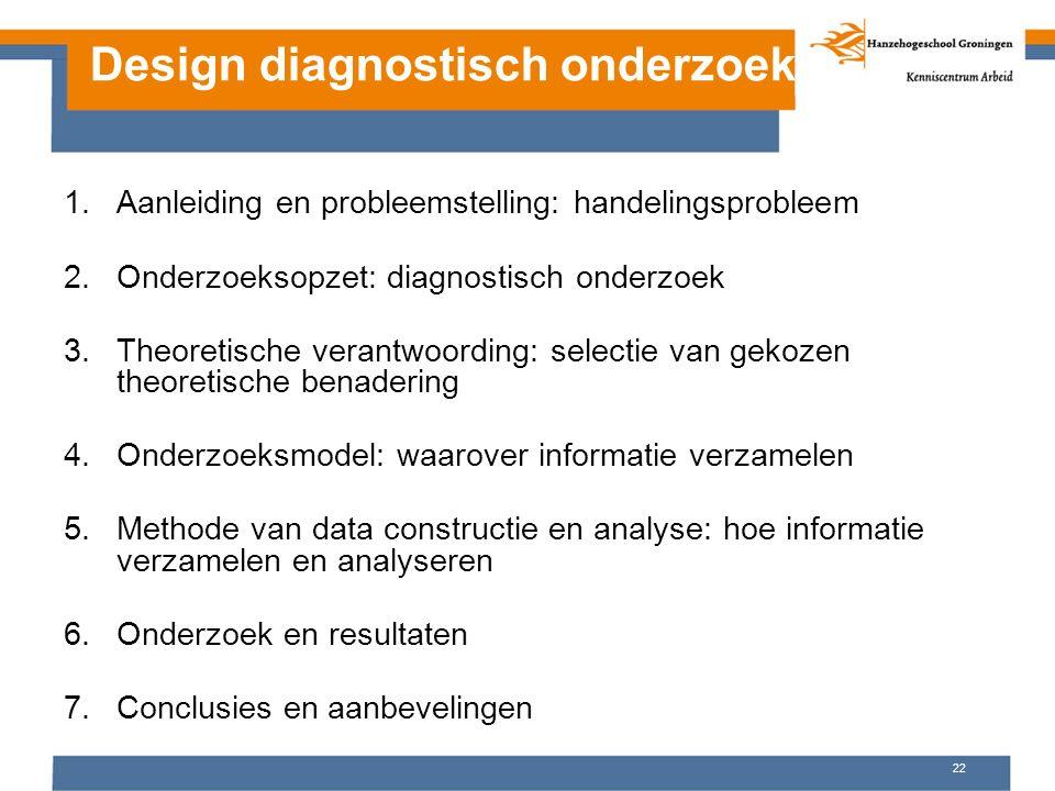 Design diagnostisch onderzoek 1.Aanleiding en probleemstelling: handelingsprobleem 2.Onderzoeksopzet: diagnostisch onderzoek 3.Theoretische verantwoor