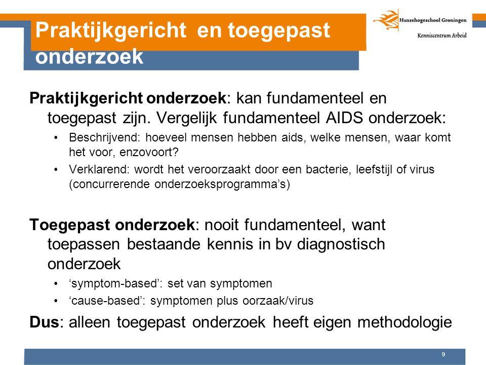 Praktijkgericht en toegepast onderzoek Praktijkgericht onderzoek: kan fundamenteel en toegepast zijn. Vergelijk fundamenteel AIDS onderzoek: Beschrijv