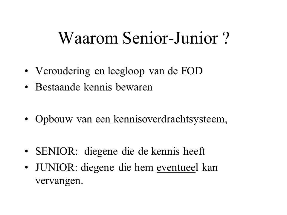 Waarom Senior-Junior ? Veroudering en leegloop van de FOD Bestaande kennis bewaren Opbouw van een kennisoverdrachtsysteem, SENIOR: diegene die de kenn