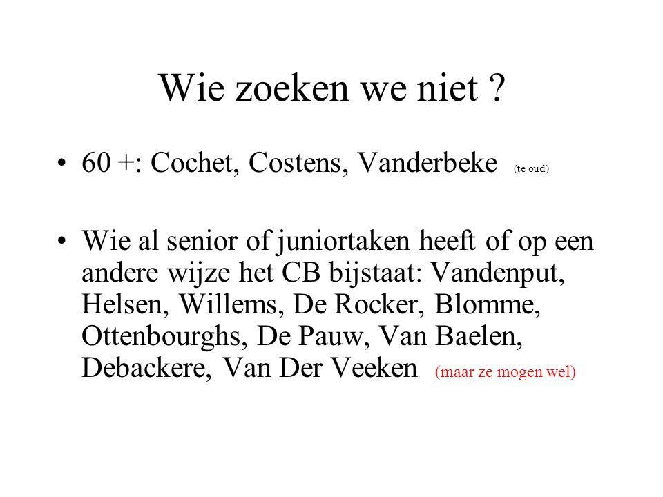 Wie zoeken we niet ? 60 +: Cochet, Costens, Vanderbeke (te oud) Wie al senior of juniortaken heeft of op een andere wijze het CB bijstaat: Vandenput,