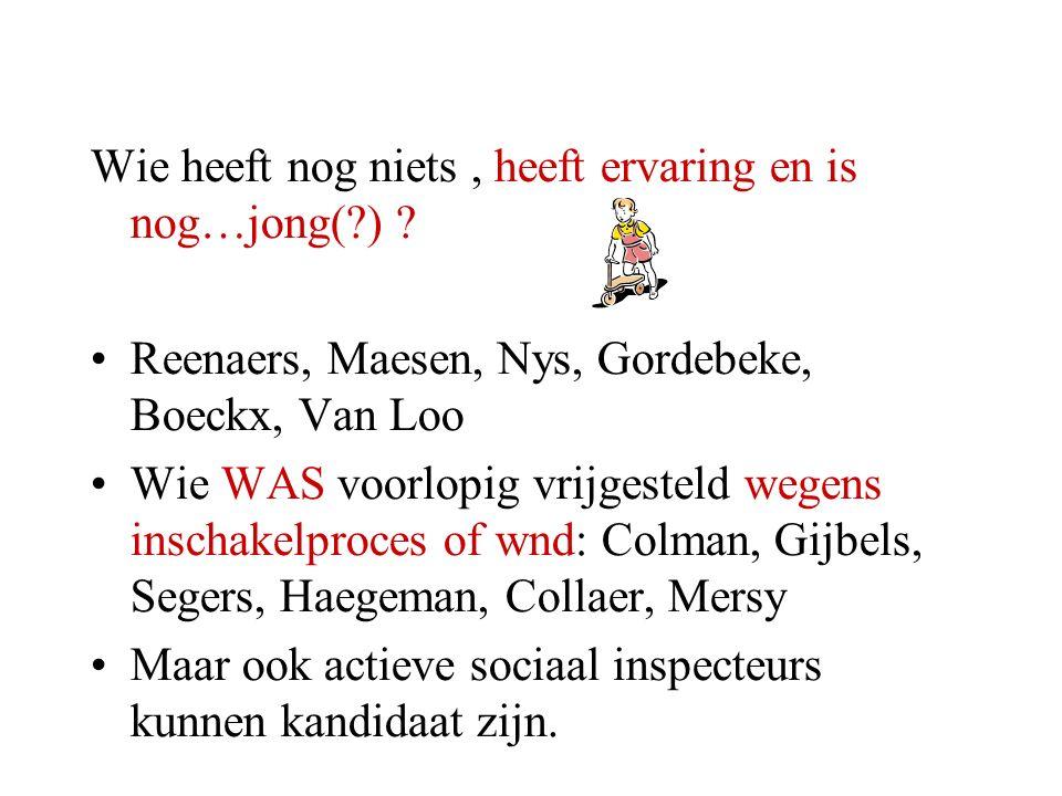 Wie heeft nog niets, heeft ervaring en is nog…jong(?) ? Reenaers, Maesen, Nys, Gordebeke, Boeckx, Van Loo Wie WAS voorlopig vrijgesteld wegens inschak